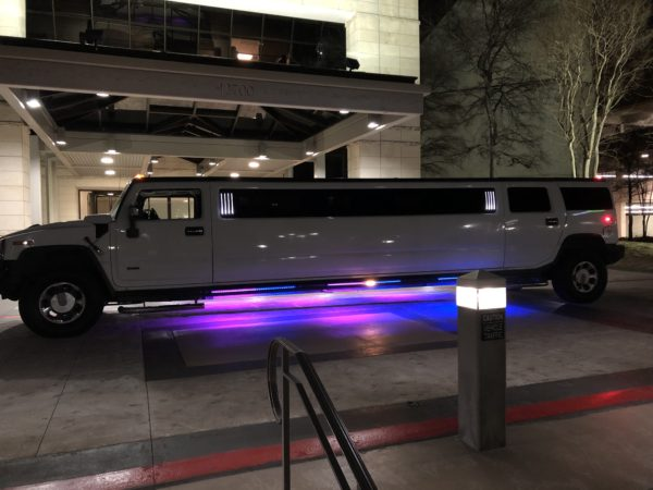 Hummer Limousine Dallas With Exterior Lights