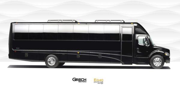 39 Passenger Luxury Bus With Onboard Restroom.